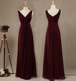 56604f1fc48 Бордовый-Line Принцесса V-образным вырезом ремни рукавов шифон платье  невесты с рябить длиной до пола V-обратно сторона Ruched платье выпускного  вечера