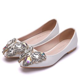 crystal rhinestones flat shoes NZ - Crystal Queen Bow Rhinestone Flat Shoes Women Wedding Shoes Pointed Toe Boat Loafers Lady Shoes