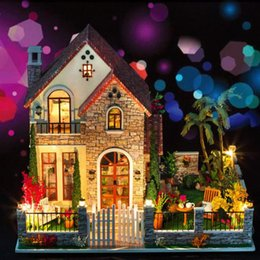$enCountryForm.capitalKeyWord Canada - Wholesale- Home Decoration Crafts DIY Doll House large Wooden Dolls House 3D Miniature Model Kit dollhouse Furniture Room LED Light k007