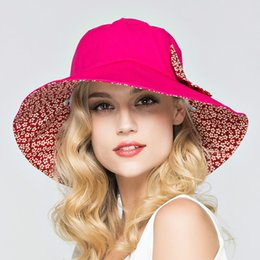 Discount hats for big heads - Wholesale- Summer Large Brim Beach Sun Hats for Women UV Protection Hat Women with Big Heads Foldable Style Fashion Lady