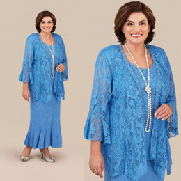 Barato Mais Tamanho Jaqueta De Renda Longa-Ann Balon Vintage Mother Of The Bride Dresses With Jacket Mermaid Lace Mothers Wedding Guest Dress Plus Size Long Vestidos de Noiva da Mãe