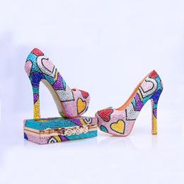 $enCountryForm.capitalKeyWord Canada - 2017 Rhinestone Prom Party Shoes with Clutch Handmade Wedding Shoes High Heel Multicolor Cinderella Pumps with Matching Bag