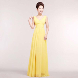 long formal yellow v neck chiffon gowns ladies elegant dresses from 2018  for special occasions evening party dress H1180 b6421a75d8d7