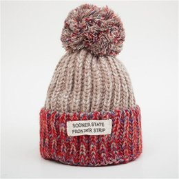 Red beanie foR women online shopping - 2017 New Fashion Winter Hats For Women Wool Letter Pompon Casual Hip Hop Knitted Warm Hat Female Beanies