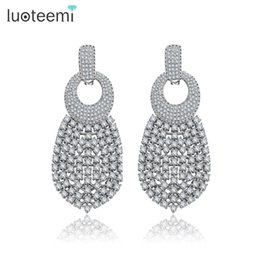 plates gift europe UK - Europe Style Weddings Jewelry Big Long Drop Earrings White-Gold Color Noble CZ Dangle Brincos for Women Party Gift LUOTEEMI