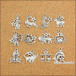 Опт Wholesale- 120 pcs Vintage Charms Zodiac twelve constellations sign Pendant Antique silver Fit Bracelets Necklace DIY Metal Jewelry Making