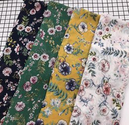 Silk Chiffon Wedding Canada - wholesale 4colour Small floral chiffon tulle fabrics Wedding dresses, print satin floral tweed cheap-silk fabric stripe scrapbooking B719