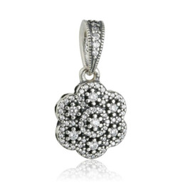 Authentic Flowers Australia - New Authentic 925 Sterling Silver Crystallised Floral Charms Pendant Bead Pave Crystal Dangle Flower Charm For DIY Brand Bracelets Jewelry