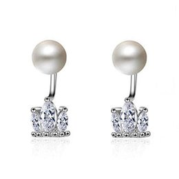 2a908b851 Luxury Imitation Pearl Cubic Zircon Stud Earrings For Women Trendy  Engagement Crown Jewelry Silver Square Front Back Earing