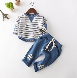 China New Boys Clothing Sets Kids Clothing Sets Long Sleeve Striped T-shirt+Pants 2Pc Children Outfits Clothing Suit 3128 supplier navy striped t shirt suppliers