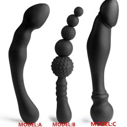 Silicone Man Dildo NZ - NEW 3 Styles Manual Black Big Pull Beads Anal Plug Silicone Dildo Anal Double Head Butt Plug Sex Toys For Gay Men