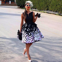 Hand Made Art NZ - 2017 Summer Short Prom Dresses Sexy A Line Black V Neck Mini Short Length with 3D Hand Made Flower Evening Gowns Party Dress DTJ