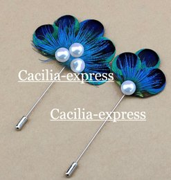peacock feathers sale Canada - natural blue peacock feather fan shade women's brooch hot sale