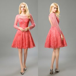 Barato Longo Vestido De Cetim De Cristal Vestidos-Coral Short Prom Dresses 2017 Lace Long Sleeve Sequins Crystal Beading Tulle A Line Hollow Custom Made Plus Size Real Cocktail Party Dresses