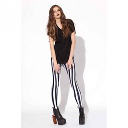 Jambières Punk Blanc Pas Cher-2017 New Black White Striped Leggings imprimés verticaux Gothic Creative Fitness Women Punk Shape Slim Sexy Pantalons populaires