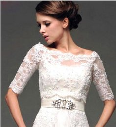 $enCountryForm.capitalKeyWord Canada - Plus Size Wedding Boleros Lace Up Back Half Sleeves Lace Bridal Shrugs Boleros Jackets Wedding Coat Custom Made