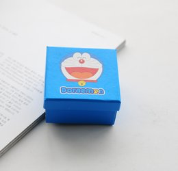 Doraemon box online shopping - Simple Seven Doraemon Sky Blue Jewelry Box Cute Bracelet Box Lovely Comic Necklace Package Cartoon Pendant Case