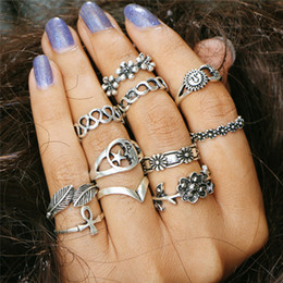 china jewelry wholesale white gold 2020 - Vintage Silver Gold Color Carved Flower Sun Moon Star Finger Rings For Women Boho Girls Knuckle Ring Punk Jewelry 11Pcs