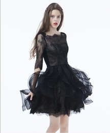 red neck wedding dresses UK - Black Gothic Short Wedding Dresses With 34 Sleeves Boat Neck Ruffles Mini Women Informal Non Traditional Bridal Gowns Cute