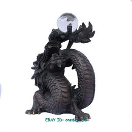 """Discount japanese pearls - Chinese Bronze Copper Dragon Playing Pearl Statue 5.2""""H"""