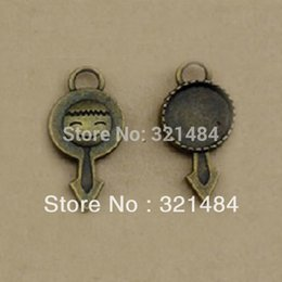 12mm pendant tray Canada - Antique brass bronze 100pc 12mm cameo base cabochon settings 29*14mm boy charm bezel pendant tray blank
