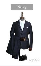 wedding dresses two slits 2019 - new men's business career suits Slim single row of two buckle flat collar side slits variety groom best man wedding