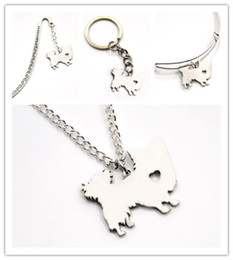 Cute long Chain neCklaCe online shopping - Long Haired dog necklace charm heart cute dog pet i love dogs charm pendant necklace bangle keyring bookmark