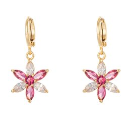 $enCountryForm.capitalKeyWord NZ - 18K Yellow Gold Plated Clear Pink Cubic Zirconia CZ Flowers Dangle Earrings Fashion Jewelry for Women