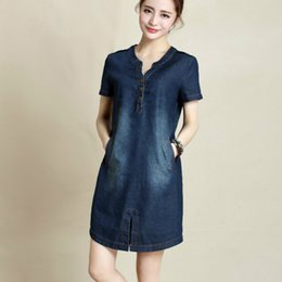 d830b8579c7 Wholesale- 2016 new summer fashion plus size denim dress with short sleeves  Korean V-neck loose solid color navy blue women dresses 176C 45