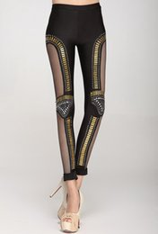 Discount sexy night party bar - Wholesale- lady sexy punk rock leggings gothic gold metal leggings patchwork mesh pants night girl bar party legging clu