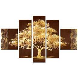 China Golden Tree 5 Panels 100% Hand Painted Abstract Contemporary Floral Oil Paintings on Canvas Wall Art for Living Room Bedroom Home Decoration suppliers