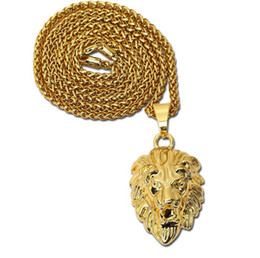 lion charms gold UK - New Vintage Big Classical Lion Head Pendants 18K Real Gold Plated Choker Necklace Floating Charms Jewelry Wholesale