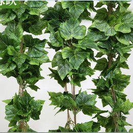 Decorative fake flowers vine online shopping - Home Decor Fashion Decorative Flowers Artificial grape leave Leaf Garland Plants Bunch Fake Foliage Flowers