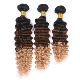 Wholesale Deep Wave B Honey Blonde Ombre Virgin Brazilian Human Hair Bundles quot Best Quality Three Tone Colored Human Hair Wefts
