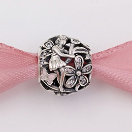 EuropEan stylE bracElEts stErling silvEr online shopping - Authentic Sterling Silver Beads Dazzling Daisy Fairy Charm Fits European Pandora Style Jewelry Bracelets Necklace EN68