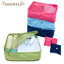 Folding Storage Mesh Organizer Canada - Wholesale- DINIWELL Foldable Portable Nylon Mesh Storage Bags For Clothes Travel Pouch Luggage Organizer Tidy Box MUS