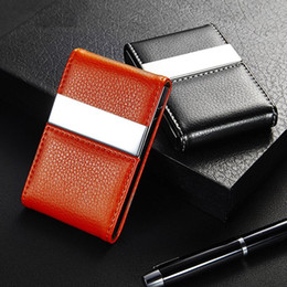 Discount metal business card holder for women metal business card business credit card holder for women men fashion id cardholder wallet metal pu leather name card holder organizer 6colors reheart Image collections