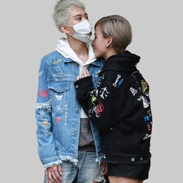 Vestes Femme En Denim Pas Cher-2016 Automne pour Hommes Femmes Rue Graffiti Peint À La Main Denim Veste Hip Hop Punk jeunesse effiloché Cowboy Manteau moto Survêtement