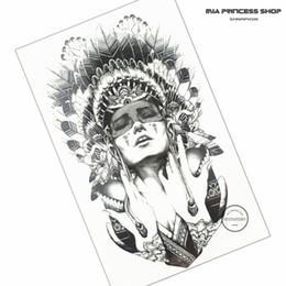 Car Body Art Canada - Wholesale- Indian Warrior Temporary Tattoo Body Art Flash Tattoo Stickers 12*20cm Waterproof Fake Tatoo Car Styling Home Decor Wall Sticker