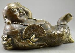 $enCountryForm.capitalKeyWord Australia - Metal Crafts Collectible Decorated Old Handwork bronze Carved Sleep Buddha Statue free SHIPPING