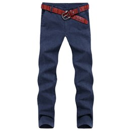 Pantalons Décontractés Minces Hommes Pas Cher-Wholesale- 2016 Brand New Autumn Pantalons Hommes Mode Coton Linge Casual Slim Fit Straight Pants Homme Business Pantalons Pantalon Taille 28-44