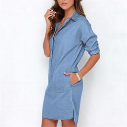 c5b957f99c6 Causal Women Denim Shirt Dress Summer Irregular shirt dress Long Sleeve Sexy  Mini Dress Casual Loose Jean Dresses