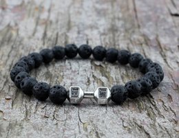 $enCountryForm.capitalKeyWord Australia - 8mm Black Lava Stone Beads with Mix Color Alloy Metal Fitness Energy Dumbbell chakra Charm Bracelets, GYM barbell Jewelry S M L XL 4SIZE 161
