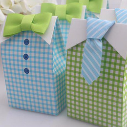 candy treat boxes Canada - 100 pcs My Little Man Blue Green Bow Tie Birthday Boy Baby Shower Favor Candy Treat Bag Wedding Favors Candy Box Gift Bag