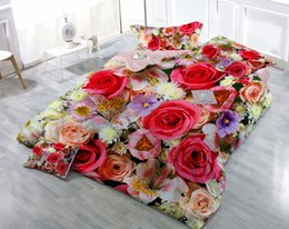 $enCountryForm.capitalKeyWord NZ - Custom Drawings Can be Customized 3D Colorful Rose Digital Printing Cotton Satin 4-Piece Duvet Cover Sets Bedding Sets