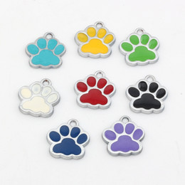 Wholesale Hot mixed Enamel zinc Alloy Paw Print Charms Pendants DIY Accessories x17 mm color