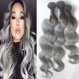 $enCountryForm.capitalKeyWord Canada - 1b Grey Ombre Hair Extensions Brazilian Human Hair Weaves Body Wave Dark Root Two Tone Virgin Hair Bundles 3pcs 4pcs 10-30 inch