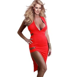 $enCountryForm.capitalKeyWord UK - Sexy Bandage Deep V Neck Sleeveless Dress Red White Summer Style Clubwear Dresses Solid Bodycon Tunic Hot Girl Sundress WT33051