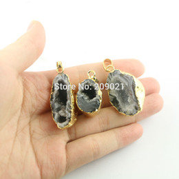 $enCountryForm.capitalKeyWord NZ - New Style ~ 8pcs Gold Plated Natural Druzy Quartz Agate Stone Pendants Jewelry Findings For Necklace