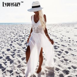 Robe Maxi Sans Manche Sexy Sans Dossier Pas Cher-2017 New Fashion White Sling V-Neck Backless Sexy Robe en dentelle blanche sans manches Hollow Out Summer Women Casual Beach maxi Robes